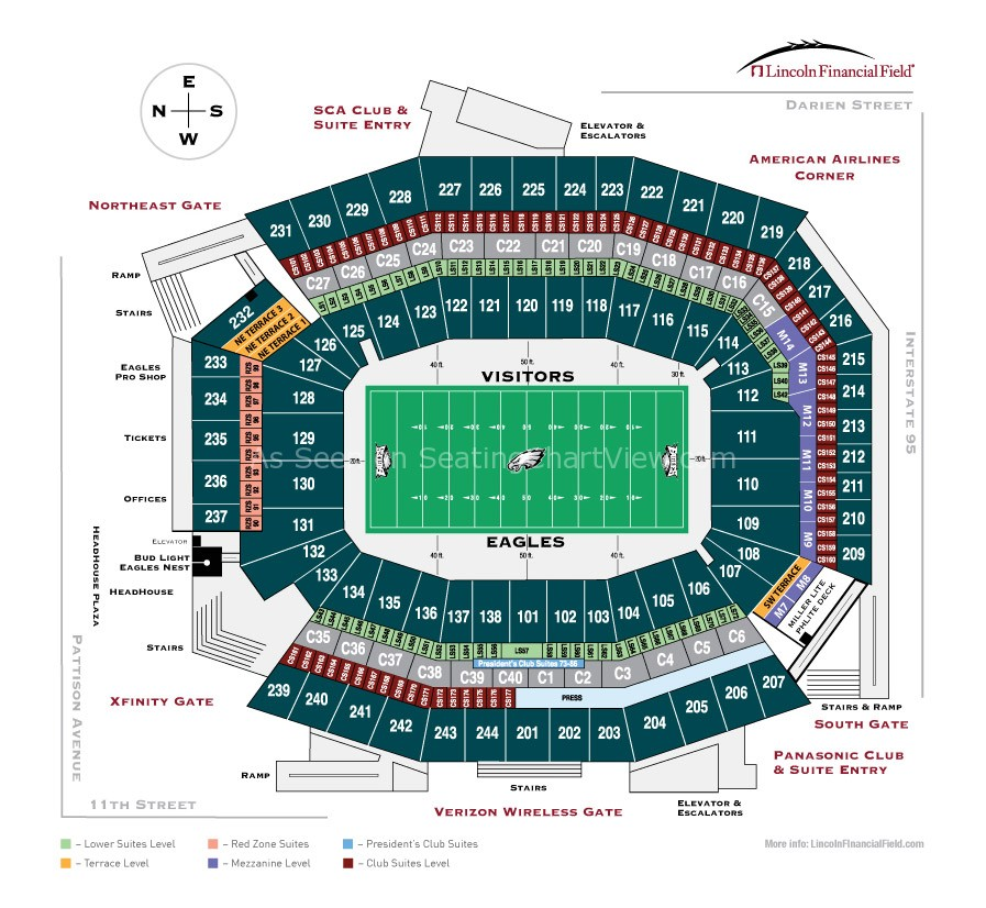 Lincoln Financial Field Philadelphia Pa Seating Chart View