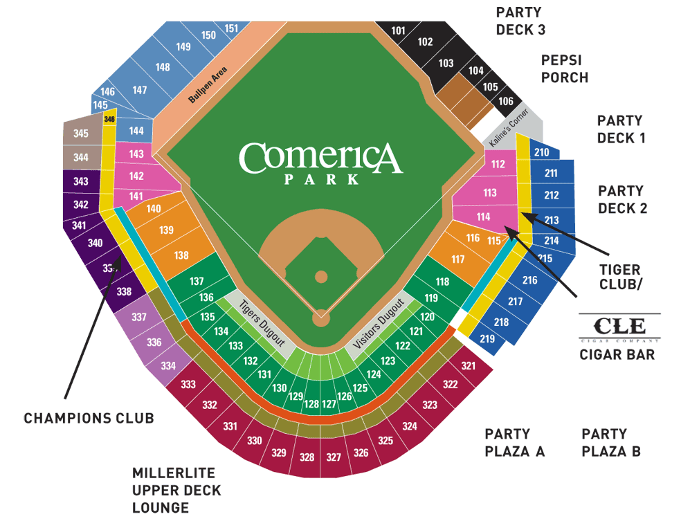 Comerica Park Seating Chart View