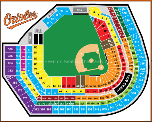 Seating Chart For Camden Yards Oriole Park At Camden