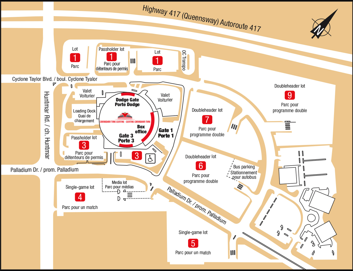 Canadian Tire Centre Parking Map