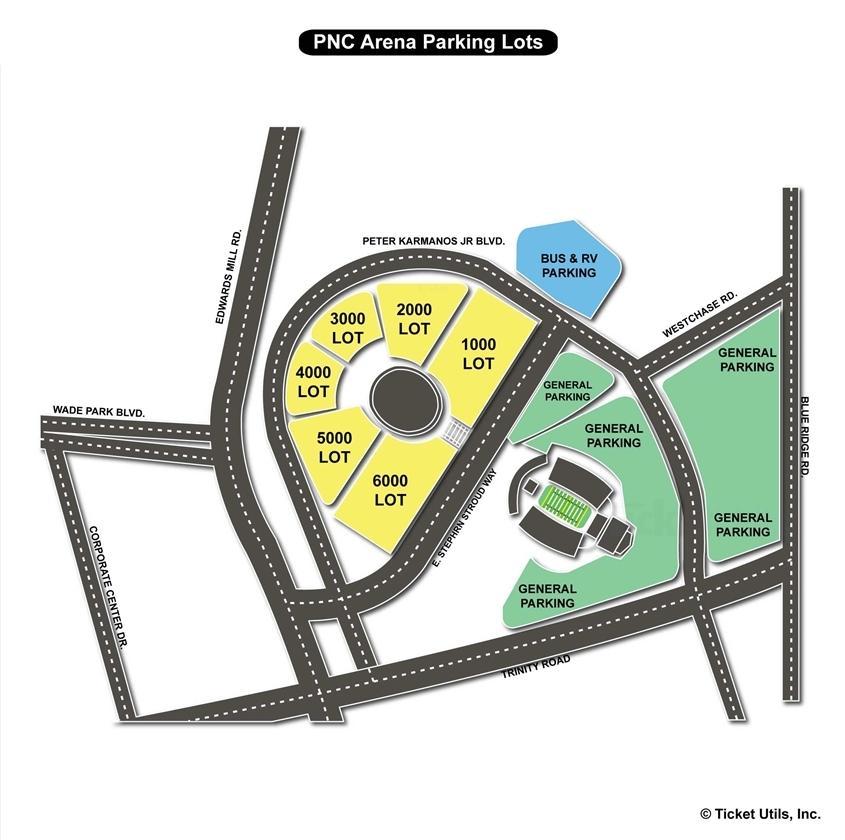 PNC Arena Parking Map