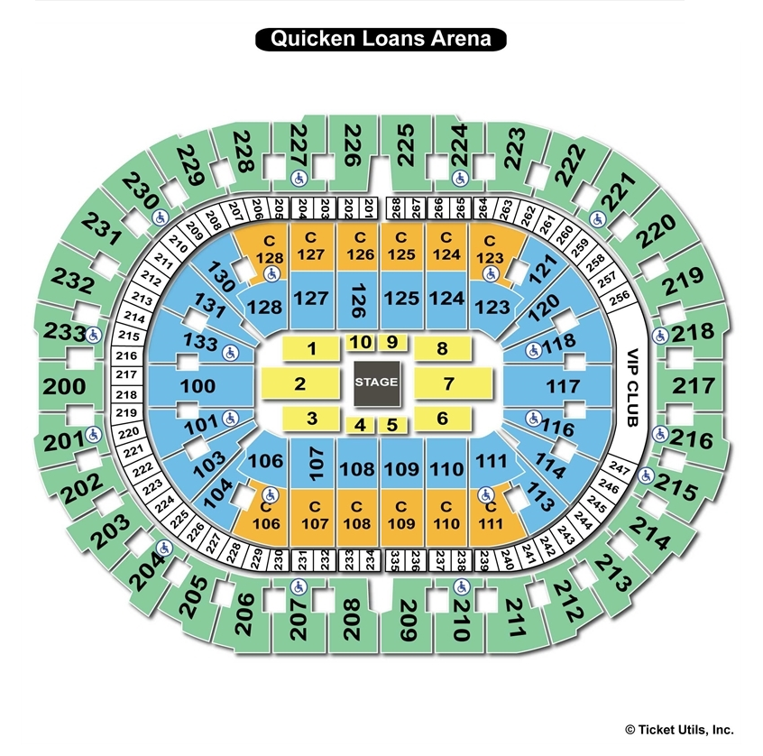 Quicken Loans Arena Center Stage Concert Seating Chart