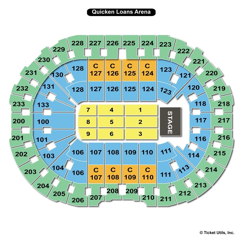 Quicken Loans Arena End Stage Concert Seating Chart
