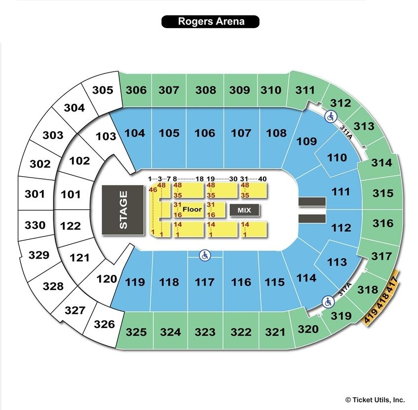 Rogers Arena End Stage Concert Seating Chart