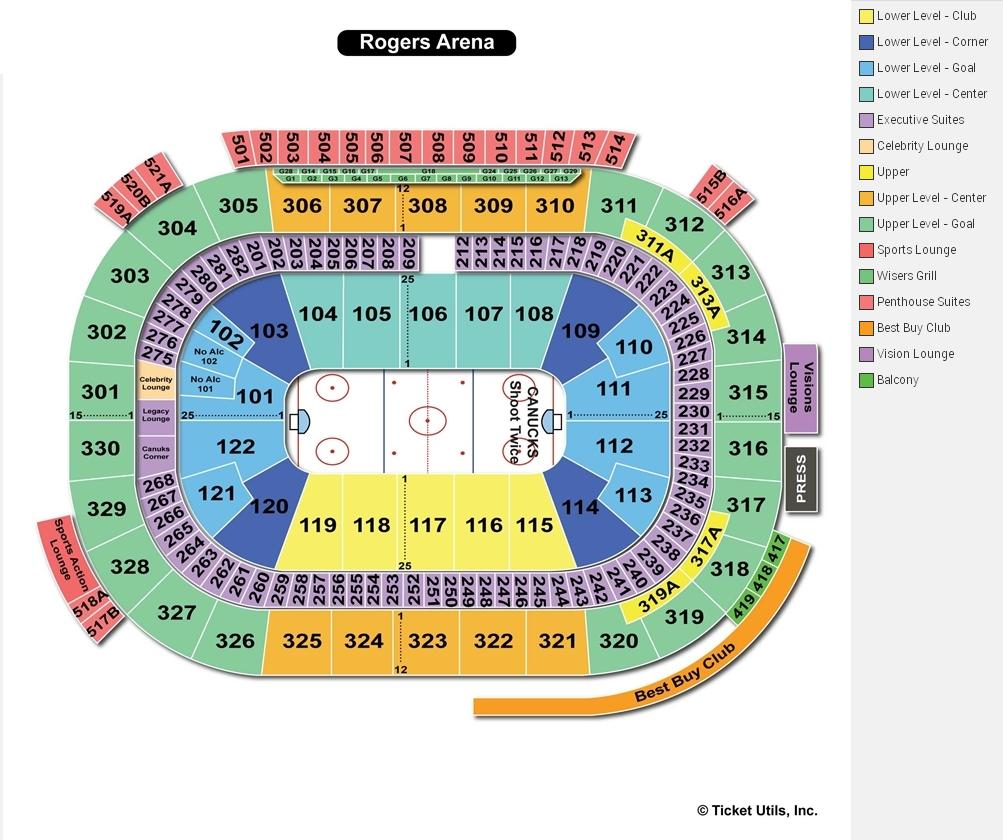 Rogers Arena Hockey Seating Chart