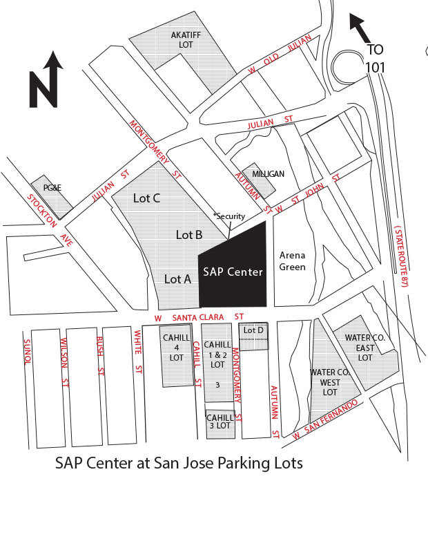 SAP Center at San Jose Parking Map