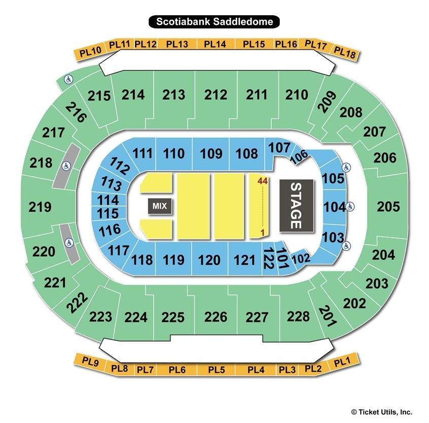 Scotiabank Saddledome End Stage Seating Chart