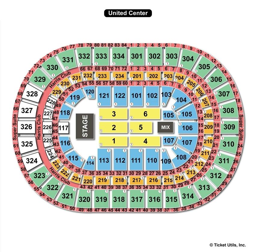 United Center End Stage Concert Seating Chart