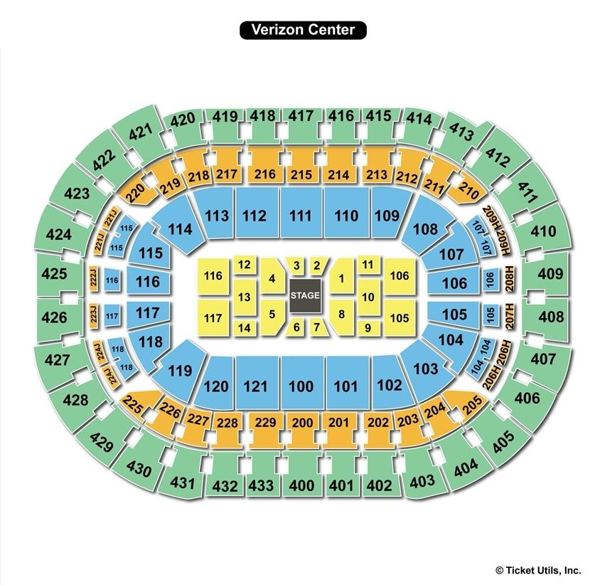 Verizon Center Concert Seating Chart Center Stage