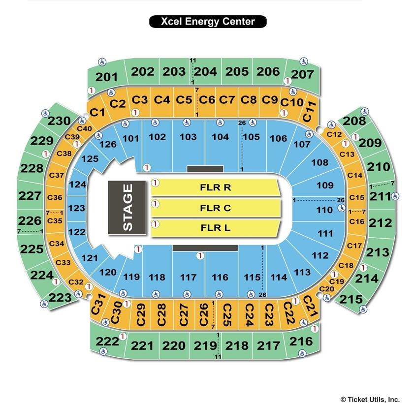 Xcel Energy Center End Stage Seating Chart