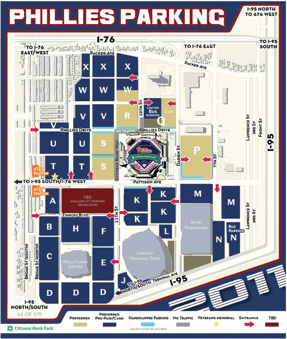 Citizens Bank Park Parking Map