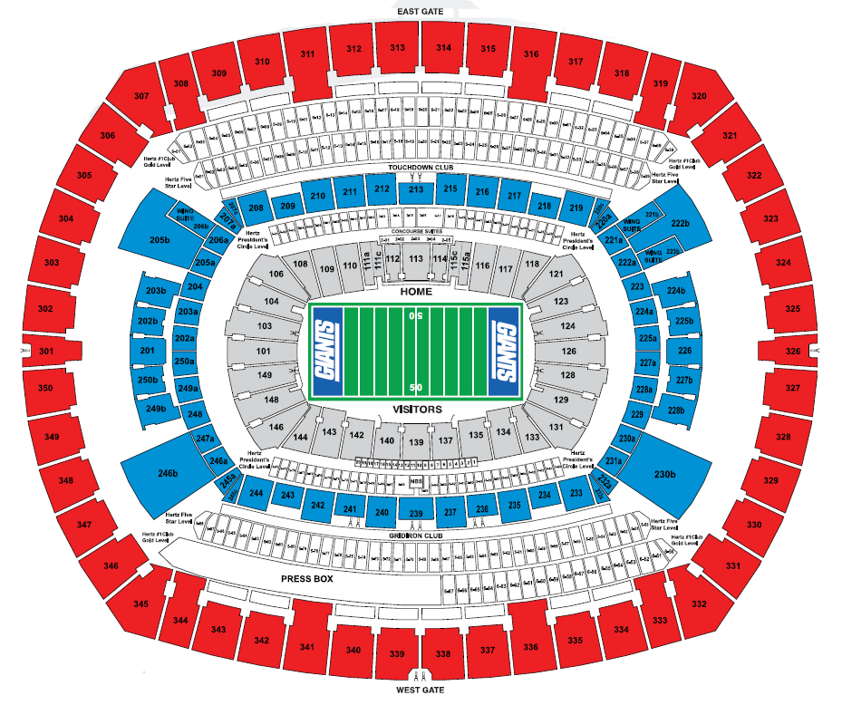 MetLife Stadium, E. Rutherford NJ - Seating Chart View