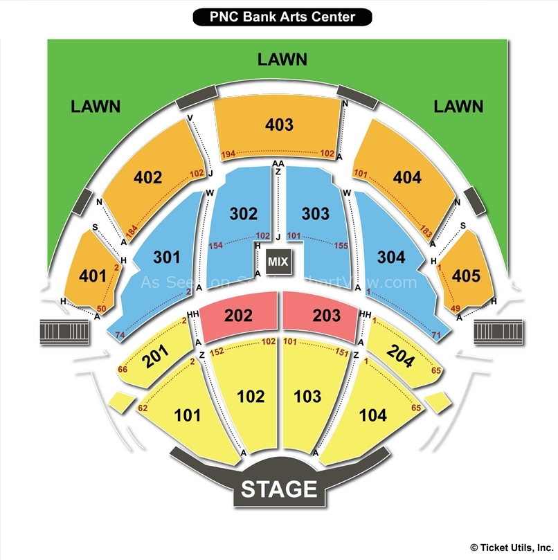 Pnc Bank Arts Center Holmdel Nj Seating Chart View