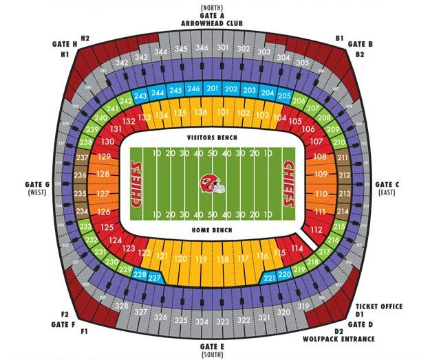 Arrowhead Stadium Seating Chart With Rows >> Arrowhead Stadium, Kansas City MO | Seating Chart View