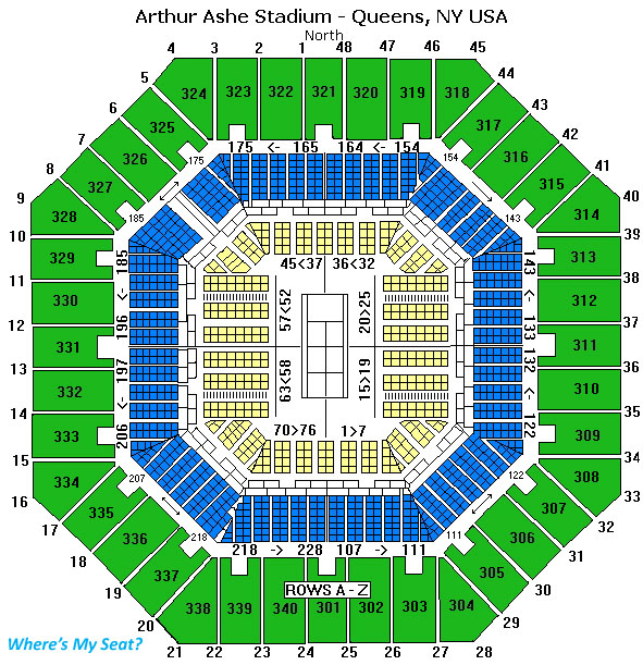 Arthur Ashe Stadium Queens NY Seating Chart View - Us open tennis map