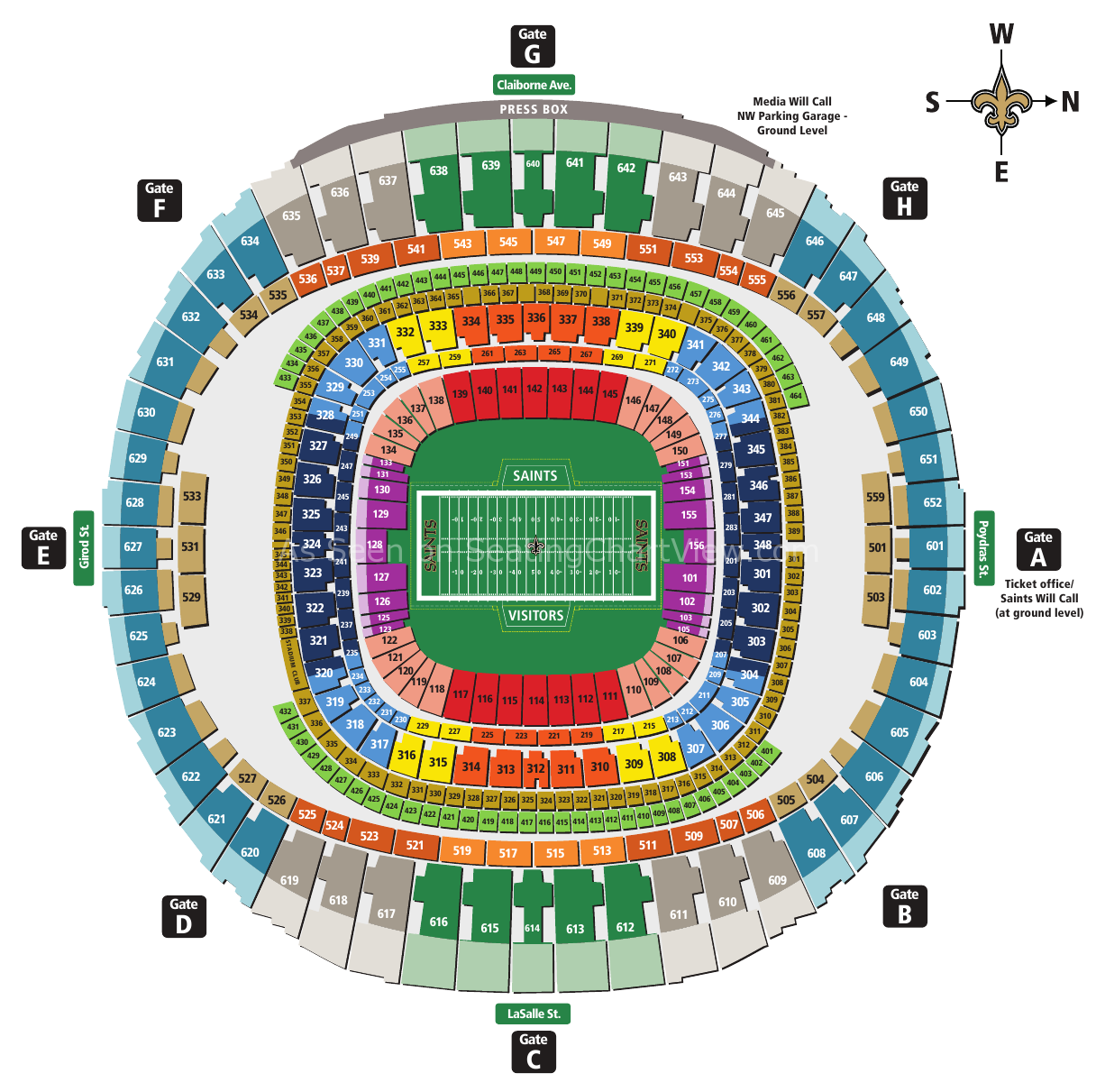 Mercedes benz superdome new orleans la seating chart view for Mercedes benz stadium layout