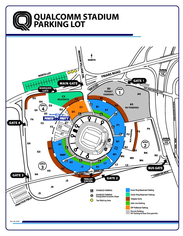 Qualcomm Stadium Parking Map