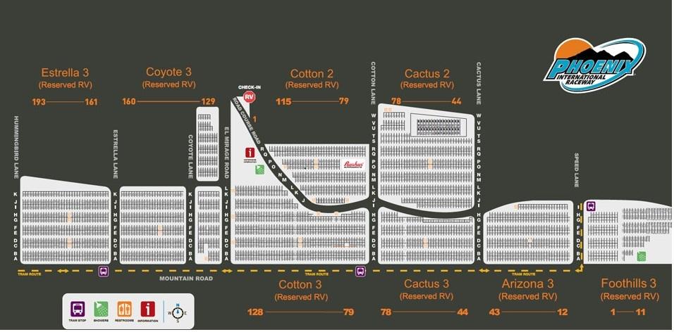 Phoenix International Raceway Parking Map