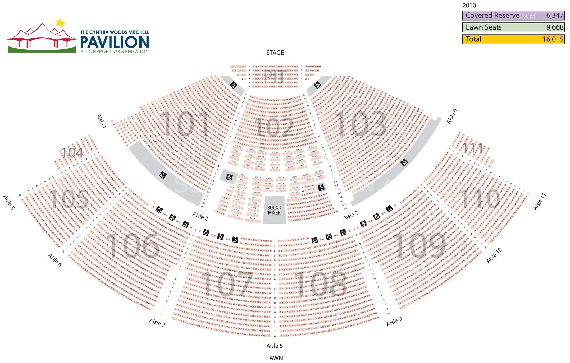 Cynthia woods mitchell pavilion spring tx seating chart view