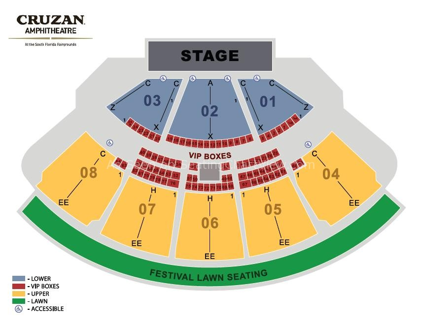 Coral Sky Amphitheatre West Palm Beach Fl Seating Chart