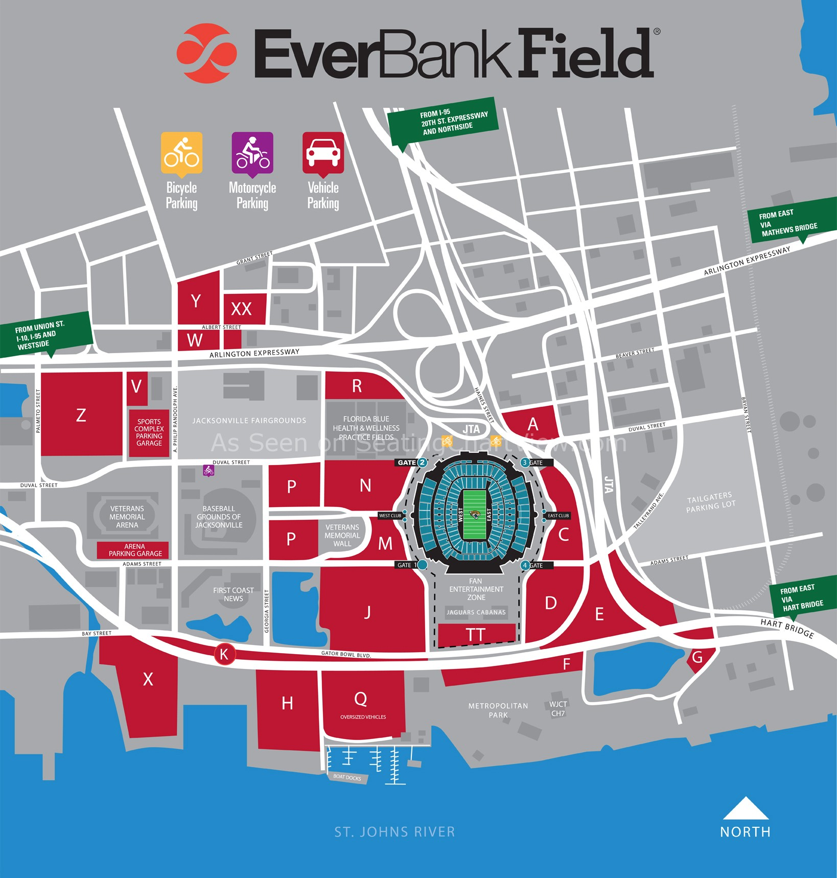 Everbank Field Map EverBank Field, Jacksonville FL | Seating Chart View Everbank Field Map