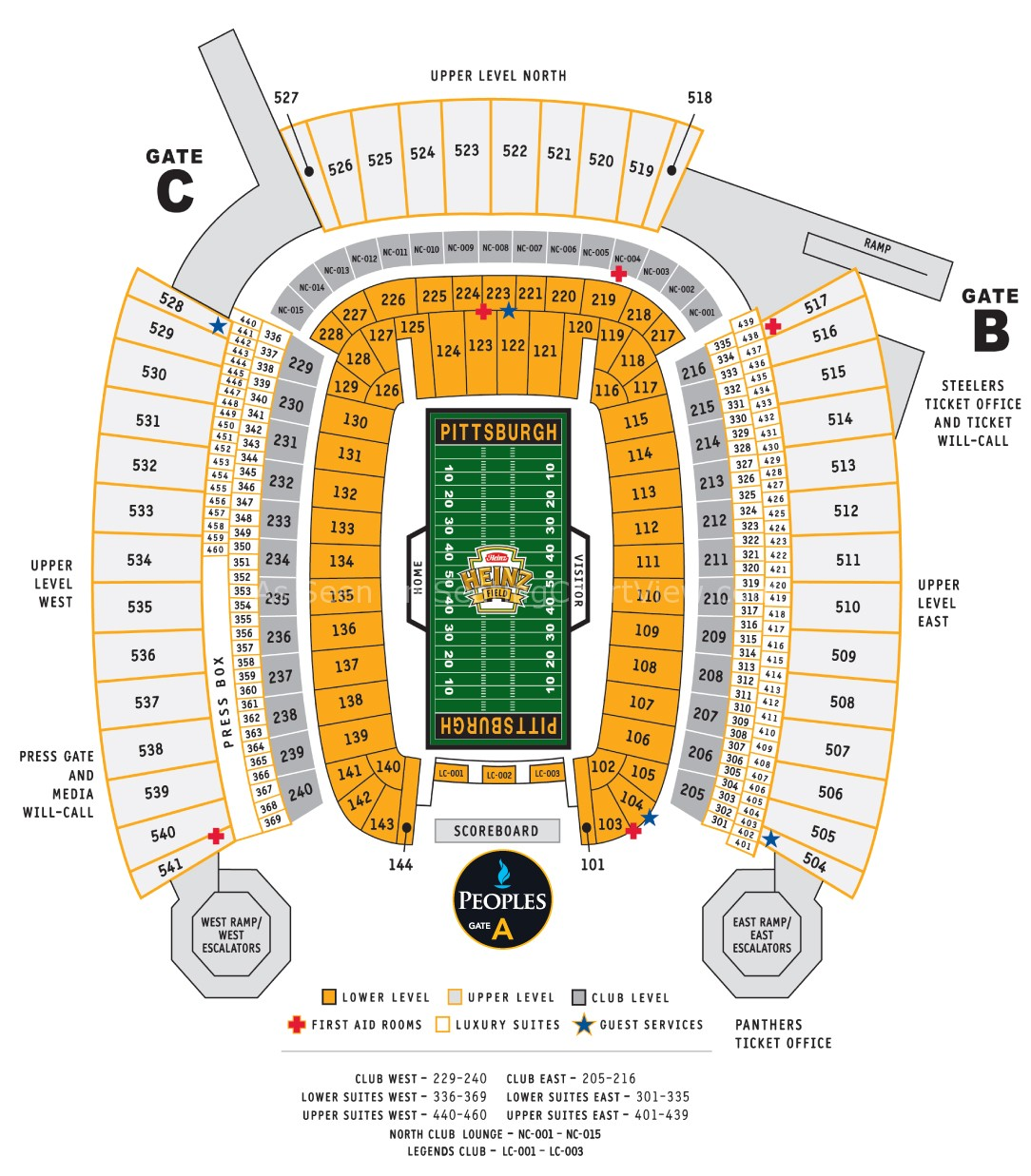 Heinz field pittsburgh pa seating chart view