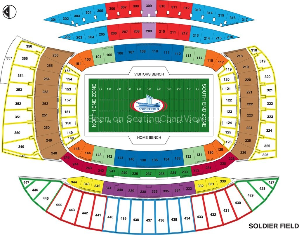 Soldier field chicago il seating chart view