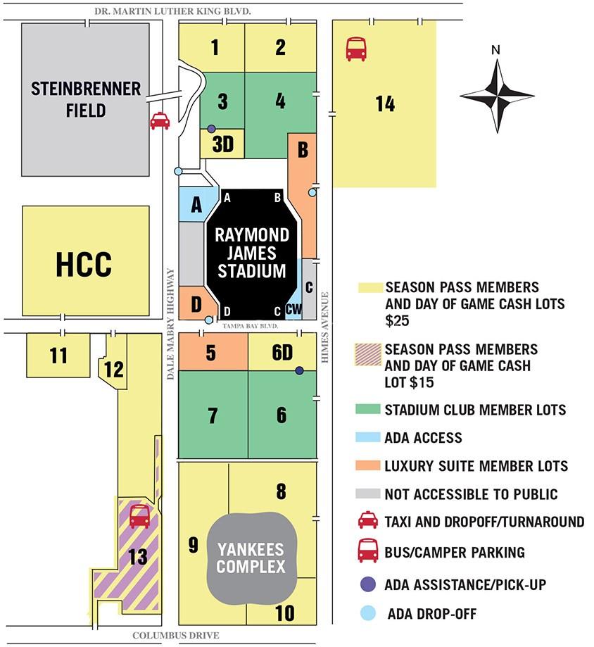 Raymond James Stadium Parking Map Raymond James Stadium, Tampa FL | Seating Chart View