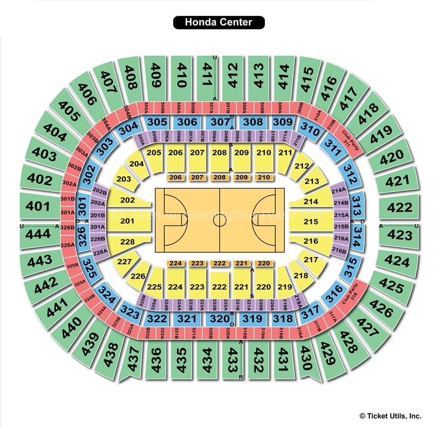 Honda Center Basketball Seating Chart