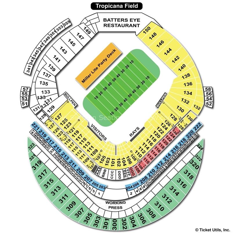Tropicana field st petersburg fl seating chart view