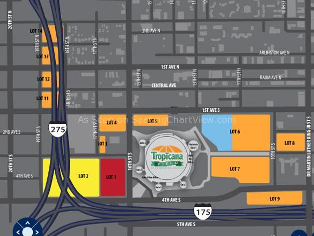 Tropicana Field Parking Map Tropicana Field, St. Petersburg FL | Seating Chart View