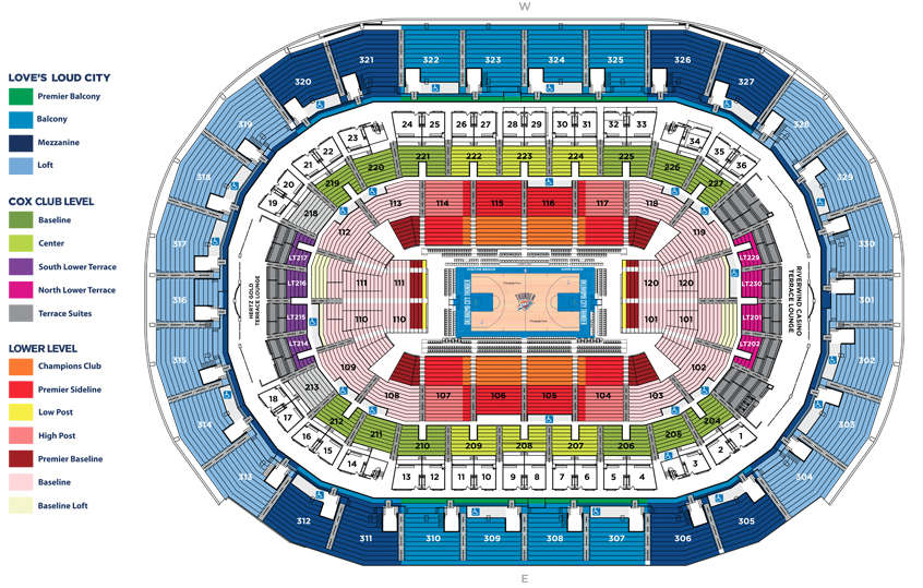 Chesapeake Energy Arena Oklahoma City Ok Seating Chart View