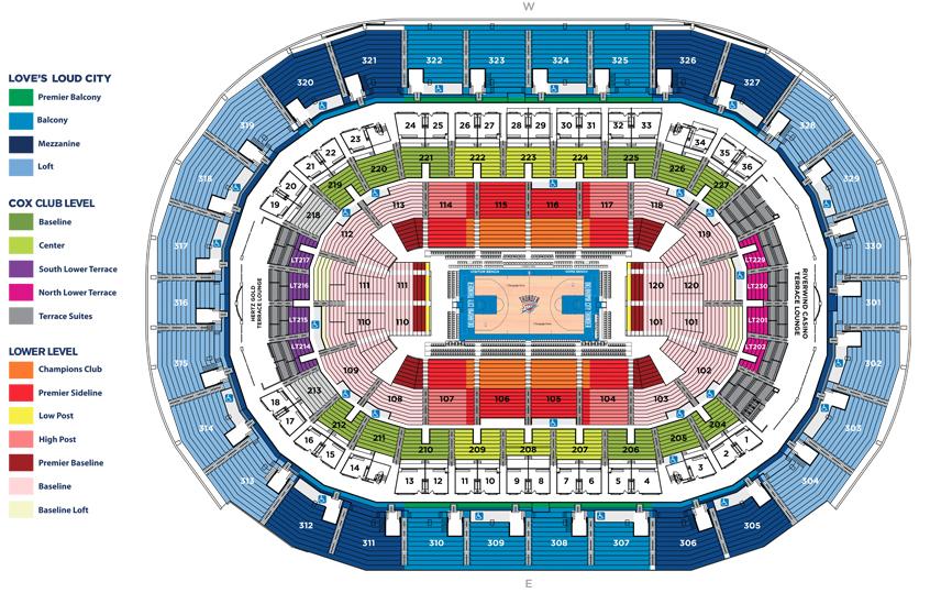 Chesapeake Energy Arena Basketball Seating Chart