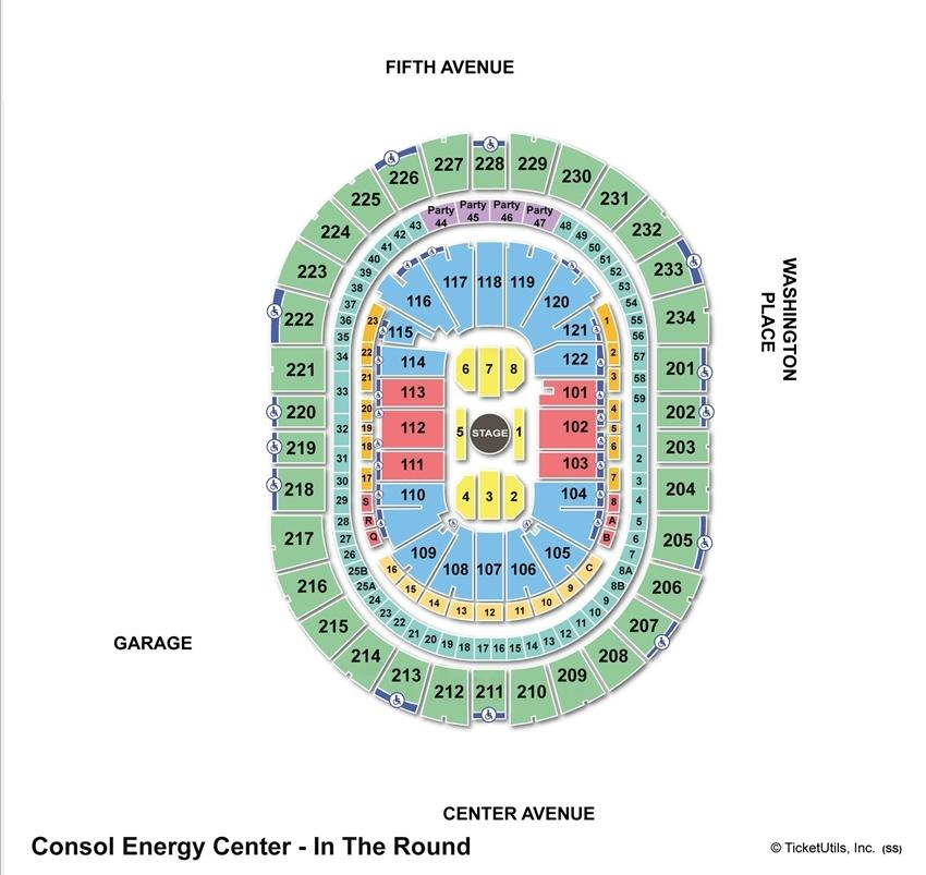 Consol Energy Center Concert Seating Chart Center Stage
