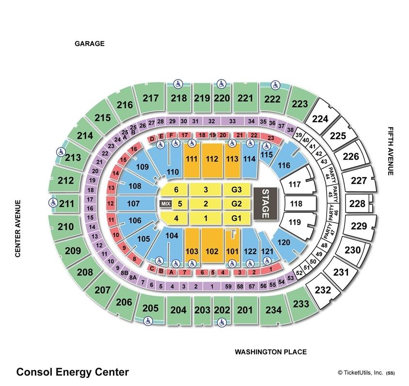 Consol Energy Center End Stage Concert Seating Chart