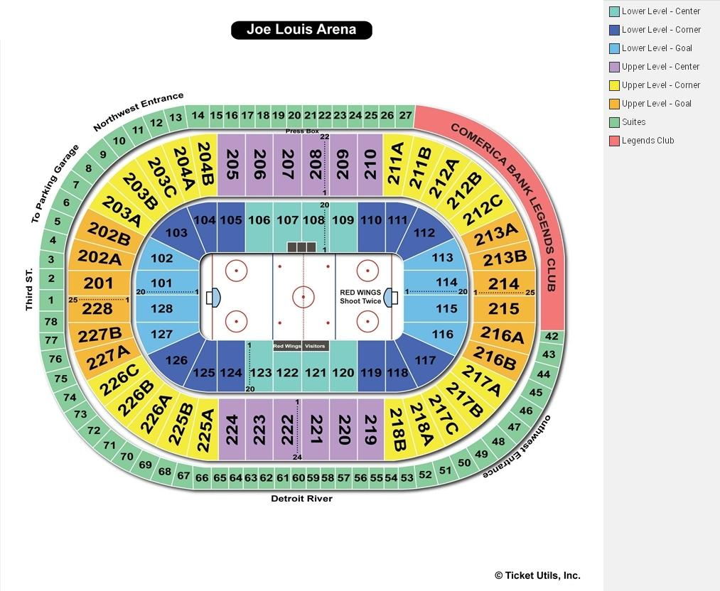 Joe Louis Arena Hockey Seating Chart