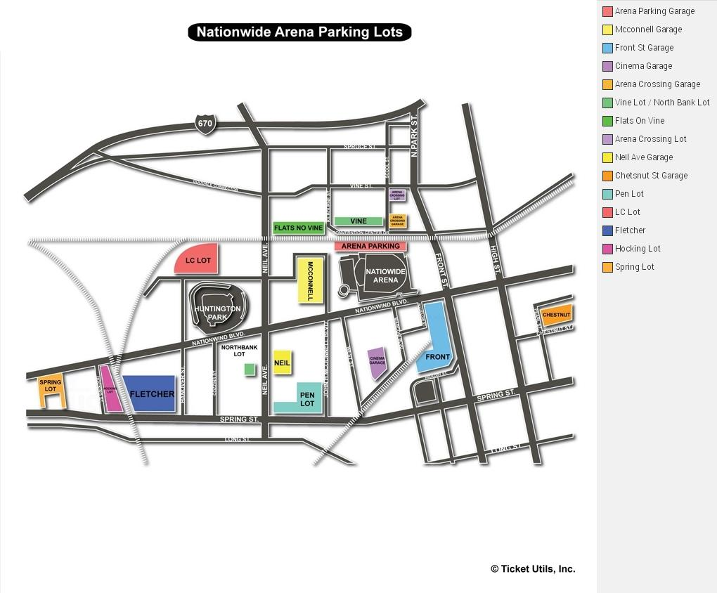 Nationwide Arena Parking Map