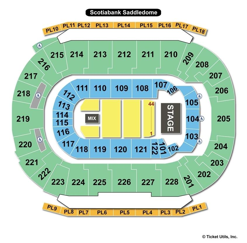 Scotiabank Saddledome End Stage Seating Chart