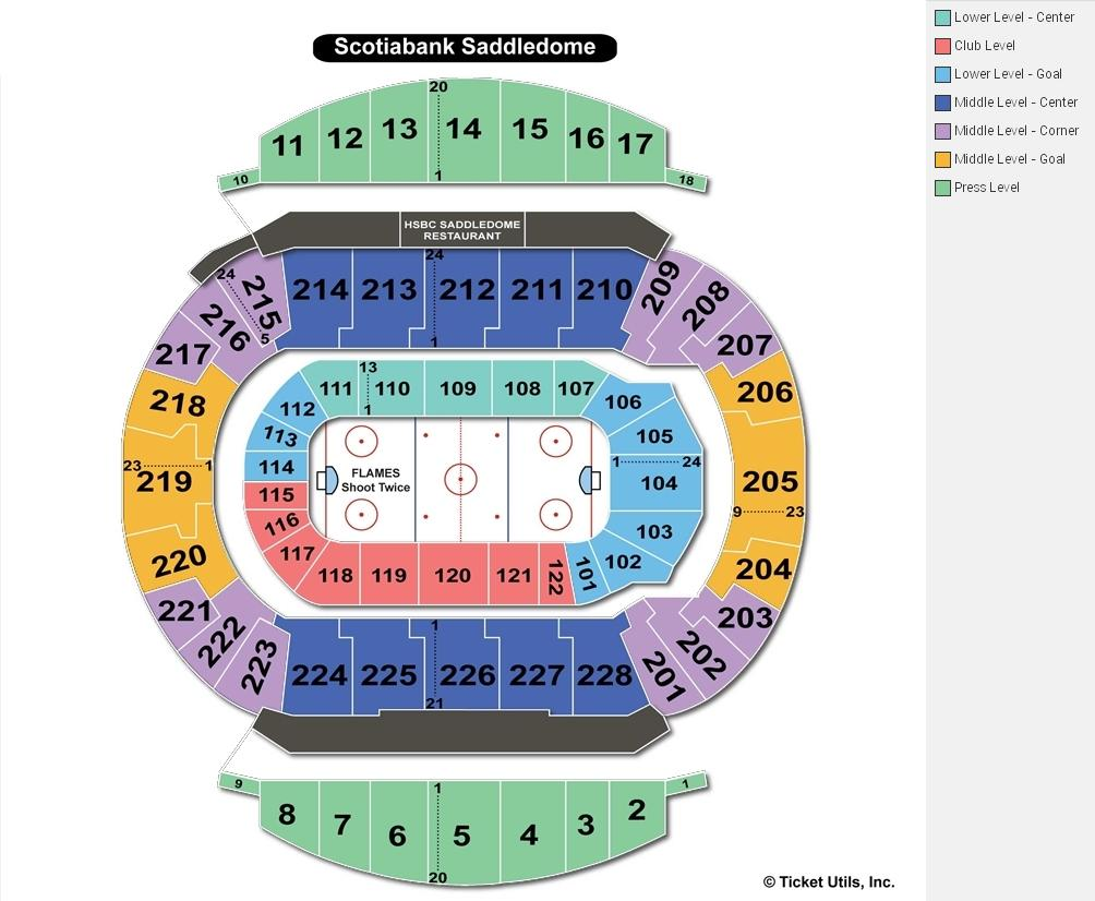 Scotiabank Saddledome Hockey Seating Chart