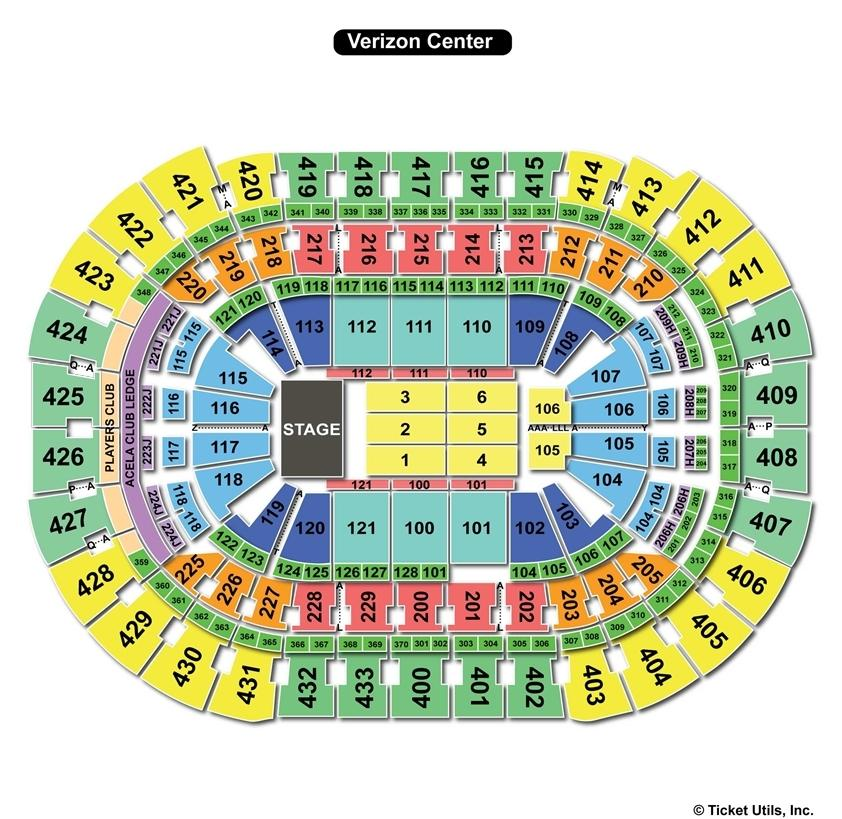 Verizon Center End Stage Concert Seating Chart
