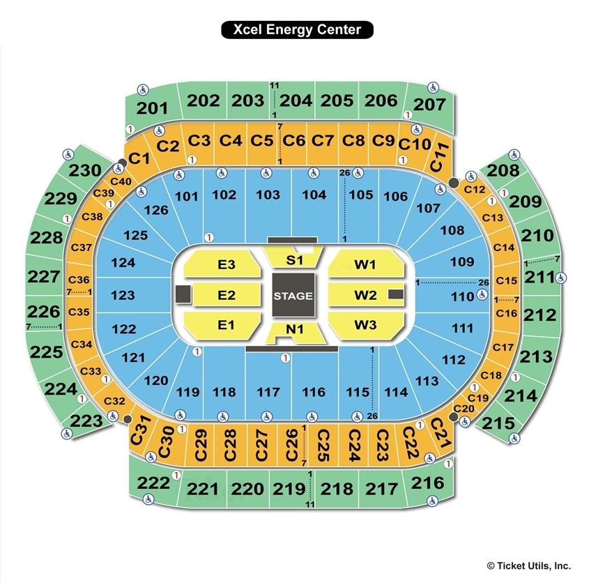 Xcel Energy Concert Seating Chart Center Stage