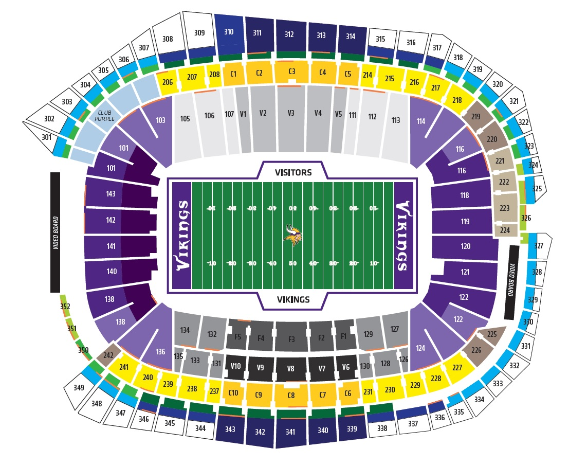 US Bank Stadium Football Seating Chart