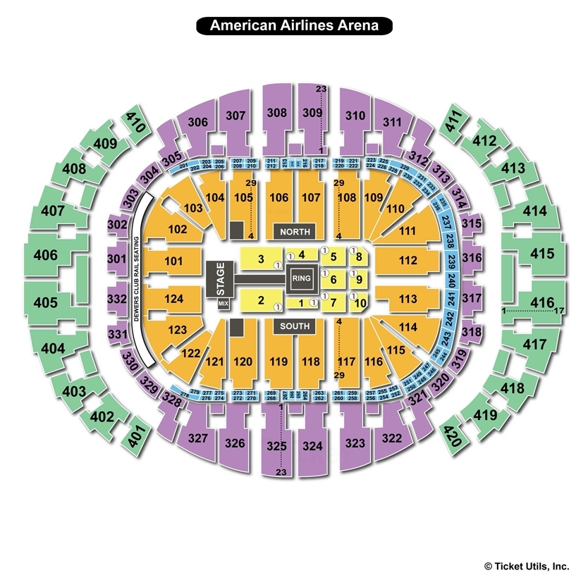 AmericanAirlines Arena Miami Fl Seating Chart View - American airlines arena seat map