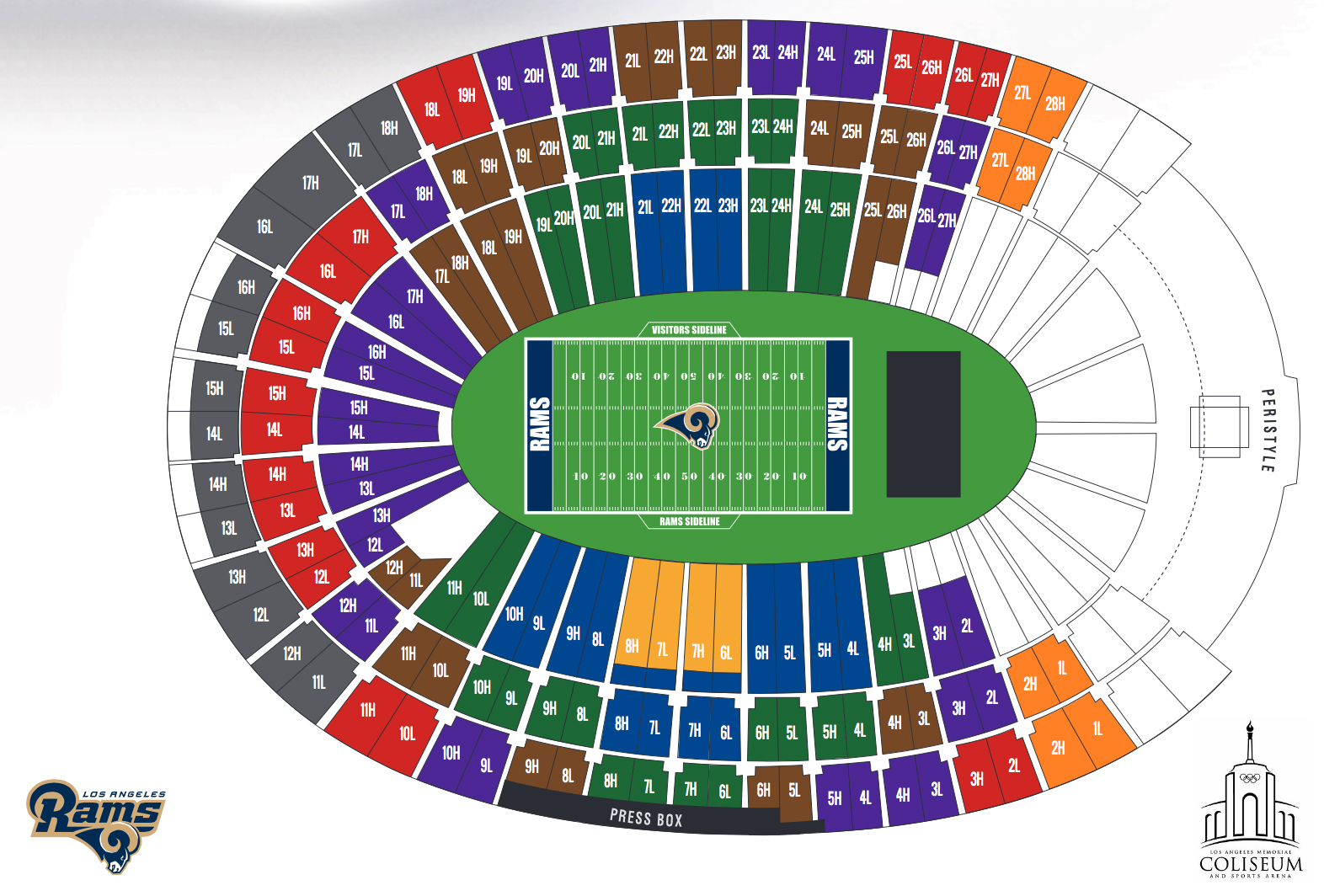 Los angeles memorial coliseum los angeles ca seating chart view