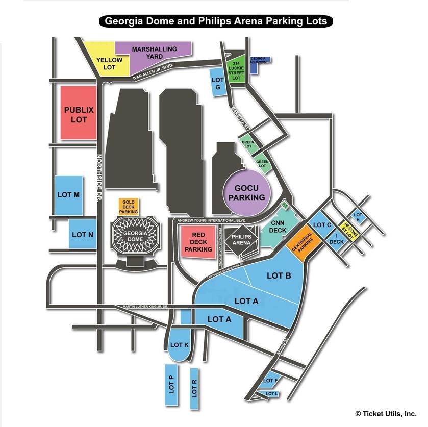 Philips arena atlanta ga seating chart view for Mercedes benz stadium parking atlanta